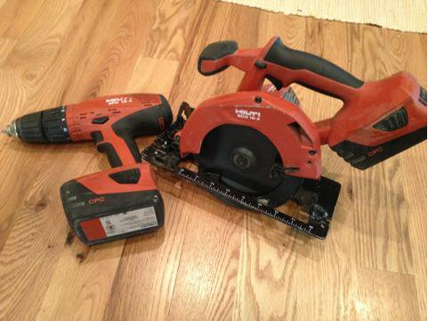 Hilti SFH 18-A Hammer Drill  SCW 18-A Circular Saw w Two Lithium Batteries - $399 (Meridian)