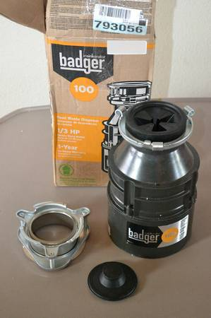 InSinkErator Badger 100 13 HP Continuous Feed Garbage Disposal - $50 (Donnelly, McCall, Cascade)