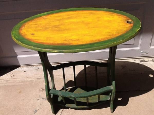 Vintage Hand Painted Occasional Table with MagazineBook Rack - $30 (TimberlineDoney Park)