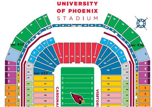 CARDINALS VS CHARGERS TICKETS  PARKING FOR SALE - $18 ((436, 420 n 113 row 13)))