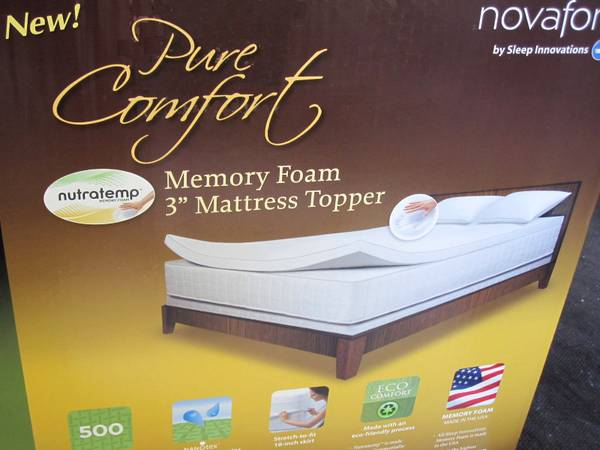 Novaform NutraTemp 3 inch  Foam Mattress Pad by Sleep Innovations -NIB - $89 (Tarzana, Ca )