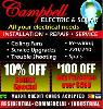 CAMPBELL ELECTRIC  SAME DAY SERVICE    951 756-0112  INLAND EMPIRE