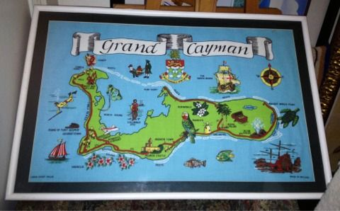 LARGE framed Grand Cayman Islands Linen Cloth Art Map made in IRELAND - $60 (Silverado Ranch)