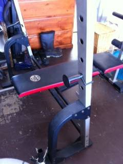 Weight Bench, dumbbells, barbell - $25 (Merced)