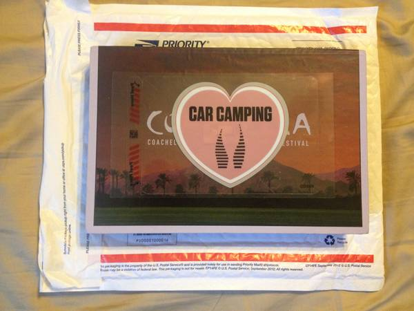 COACHELLA 2013 WEEKEND 1 CAR CAMPING PASS - $85 (PATTERSON, CA)
