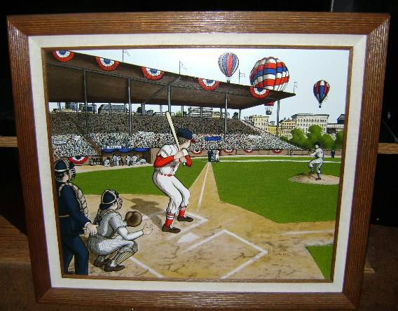 Painting of Vintage Era of Baseball  Opening Day by H. Hargrove - $18 (Salida)