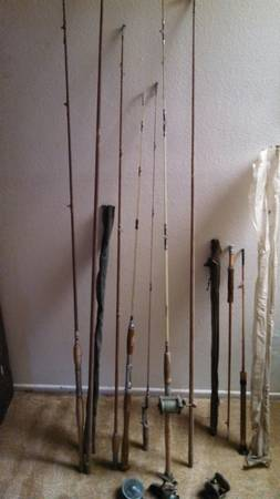 antique fishing rods and reels, vintage - $160 (orange)