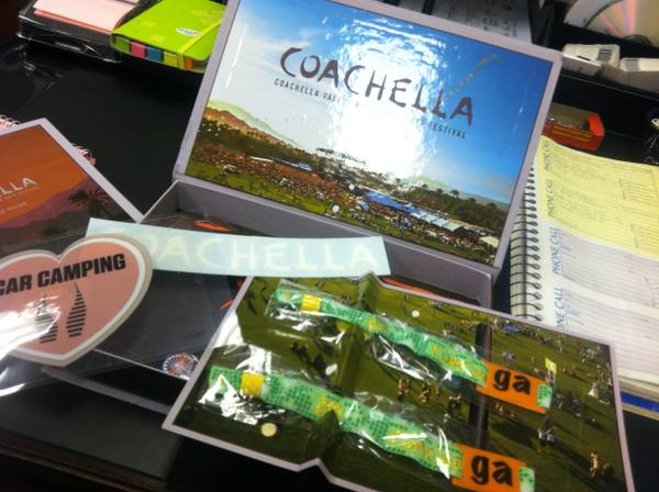 COACHELLA 2013 WEEKEND 1 - (2) GA TICKETS  CAR CAMPING PASS - $1500 (TUSTIN)