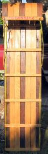 Seats 3 TOBOGGAN SLED Open Curve  Maple Oak  70  X 18   -  95  PALM SPRINGS