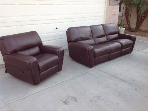 Chocolate Brown Leather sofa  chair - $1 (Chandler)