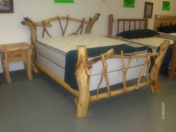 NEW Queen log bed frame, locally made - $890 (Wades Furniture)