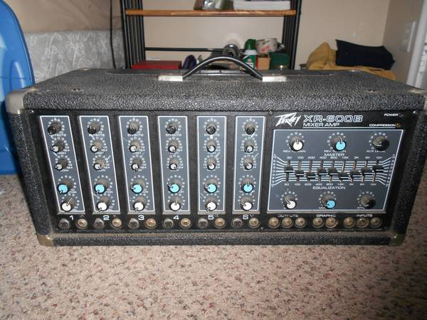 Peavey XR 600B 6 channel Mixer Amp with PA Speakers  - PA System - $224 (Provo, UT)