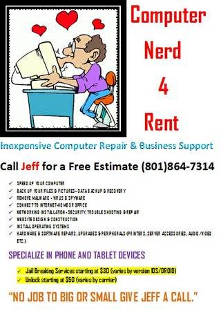 COMPUTER NERD 4 RENT (SLCUTAH COUNTIES)