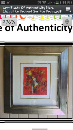large art Le Bouquet Sur Fond Rouge by Marc Chagall w coa of $1500  (el cajon)