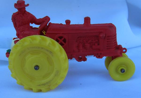 Cute Vintage Red Farm Tractor with Farmer circa 1950s - $15 (Point Loma)