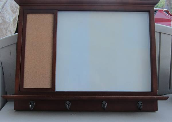 Cherry Wood Finish Dry-Erase  Cork Board with Hooks - $25 (Point Loma)
