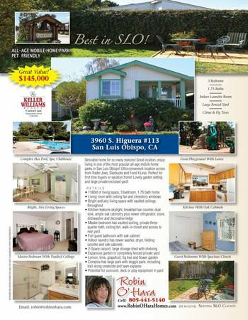 NEW LISTING - FOR FIRST TIME BUYER OR AS A VACATION HOME (3960 S. Higuera, San Luis Obispo, CA)