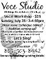 Voice Workshop   All Genres   Bring a song and let s sing    Arroyo Grande