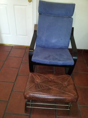 Ikea Poang Rocking Chair and Leather Footstool - $60 (Stockton)