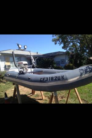 10 Avon inflatable boat with running Johnson outboard motor - $1000 (Ojai)