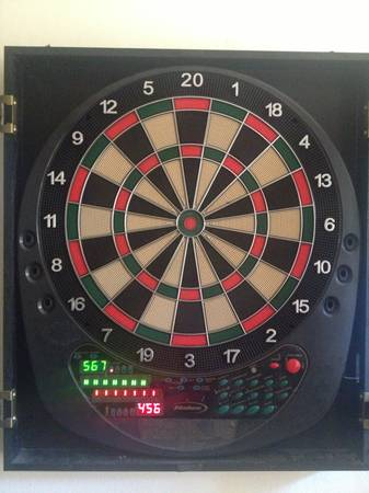 Halex Electronic Dartboard, Wood Cabinet - $50 (Thousand Oaks)