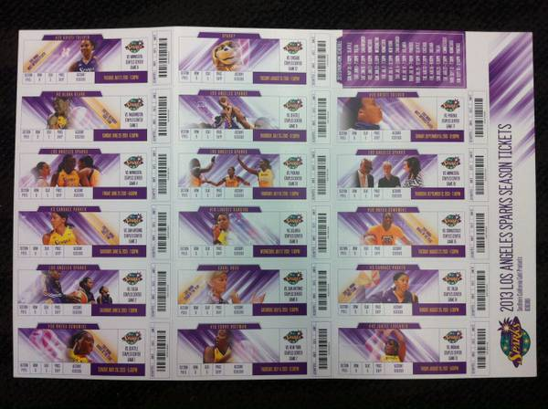 WNBA 2 SETS 2013 LOS ANGELES SPARKS SEASON TICKETS - $1 (CAMARILLO, CA)